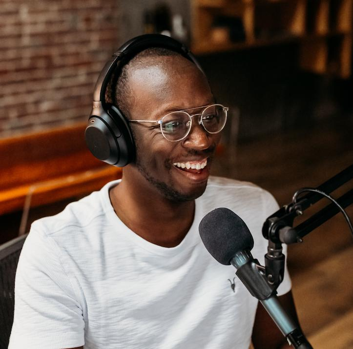 man creating a podcast